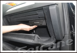 Make the GPS box fixed on the glove box by using the support