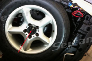 7.Remove screws in the spare tire in the trunk.