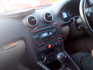 Insert four keys into the gap between the stereo and the dashboard. Put the key with the flat side facing the outside of the stereo, then have a push