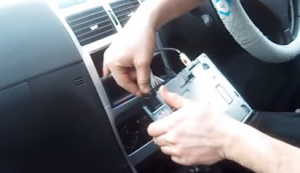 Unplug the connectors at the back of the radio