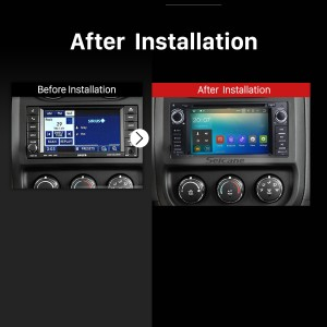 2007 2008 2009 2010 Jeep Wrangler Unlimited GPS Bluetooth Aftermarket Car Radio after installation